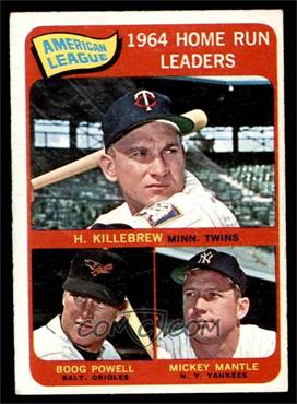 1965 O-Pee-Chee - [Base] #3 - AL Home Run Leaders (Harmon Killebrew, Boog Powell, Mickey Mantle) [EX]