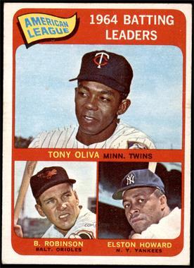 1965 Topps - [Base] #1 - American League 1964 Batting Leaders (Tony Oliva, Brooks Robinson, Elston Howard) [VGEX]