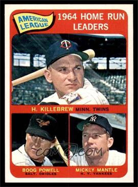 1965 Topps - [Base] #3 - American League Home Run Leaders (Harmon Killebrew, Boog Powell, Mickey Mantle) [NM]