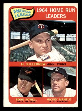 1965 Topps - [Base] #3 - American League Home Run Leaders (Harmon Killebrew, Boog Powell, Mickey Mantle) [VG EX]