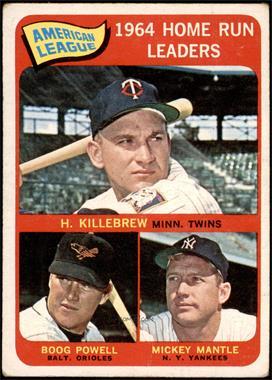 1965 Topps - [Base] #3 - American League Home Run Leaders (Harmon Killebrew, Boog Powell, Mickey Mantle) [FAIR]