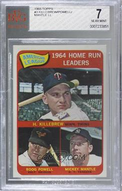 1965 Topps - [Base] #3 - American League Home Run Leaders (Harmon Killebrew, Boog Powell, Mickey Mantle) [BVG 7 NEAR MINT]