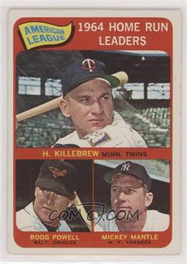 1965 Topps - [Base] #3 - American League Home Run Leaders (Harmon Killebrew, Boog Powell, Mickey Mantle) - Courtesy of COMC.com
