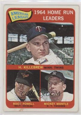 1965 Topps - [Base] #3 - American League Home Run Leaders (Harmon Killebrew, Boog Powell, Mickey Mantle) [Good to VG‑EX]