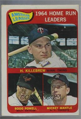 1965 Topps - [Base] #3 - American League Home Run Leaders (Harmon Killebrew, Boog Powell, Mickey Mantle) [Poor to Fair]