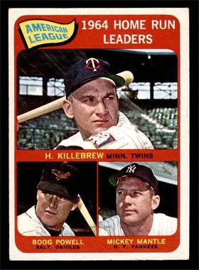 1965 Topps - [Base] #3 - American League Home Run Leaders (Harmon Killebrew, Boog Powell, Mickey Mantle) [VGEX]