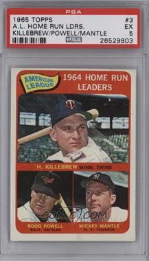 1965 Topps - [Base] #3 - American League Home Run Leaders (Harmon Killebrew, Boog Powell, Mickey Mantle) [PSA5EX]