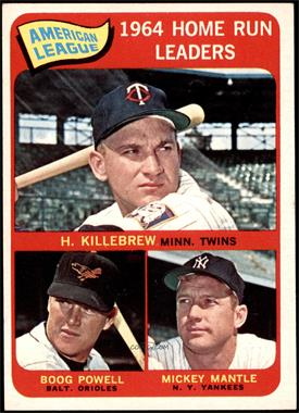 1965 Topps - [Base] #3 - American League Home Run Leaders (Harmon Killebrew, Boog Powell, Mickey Mantle) [EX]