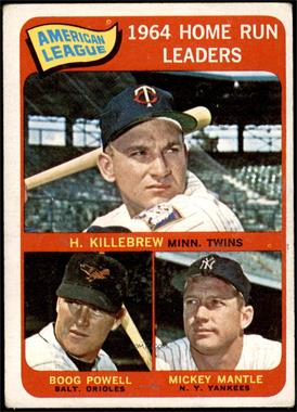 1965 Topps - [Base] #3 - American League Home Run Leaders (Harmon Killebrew, Boog Powell, Mickey Mantle) [GOOD]