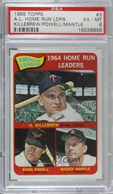 1965 Topps - [Base] #3 - American League Home Run Leaders (Harmon Killebrew, Boog Powell, Mickey Mantle) [PSA 6 EX‑MT]