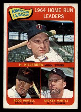 1965 Topps - [Base] #3 - American League Home Run Leaders (Harmon Killebrew, Boog Powell, Mickey Mantle) [EX MT]