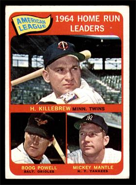 1965 Topps - [Base] #3 - American League Home Run Leaders (Harmon Killebrew, Boog Powell, Mickey Mantle) [VG]