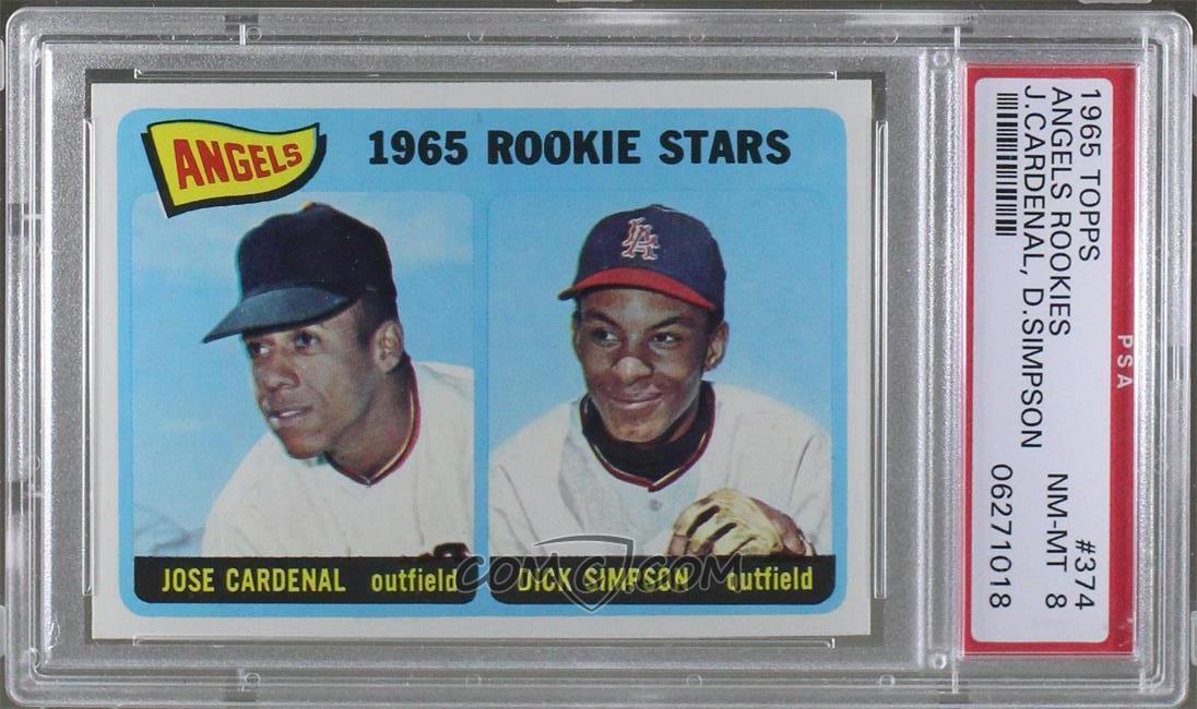 1965 Topps - [Base] #374 - Angels 1965 Rookie Stars (Jose Cardenal, Dick  Simpson) [PSA 8 NM‑MT]