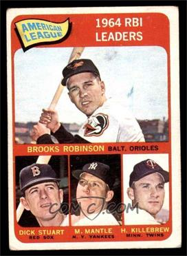 1965 Topps - [Base] #5 - Brooks Robinson, Mickey Mantle, Harmon Killebrew, Dick Stuart [VG]
