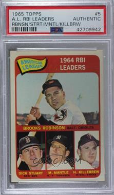 1965 Topps - [Base] #5 - Brooks Robinson, Mickey Mantle, Harmon Killebrew, Dick Stuart [PSA Authentic]