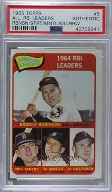 1965 Topps - [Base] #5 - Brooks Robinson, Mickey Mantle, Harmon Killebrew, Dick Stuart [PSAAuthentic]