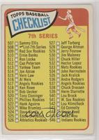 7th Series Checklist (507-598) (Small Print on Front)