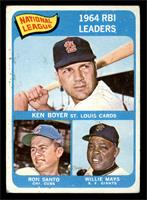 National League 1964 RBI Leaders (Ken Boyer, Ron Santo, Willie Mays) [GOOD]