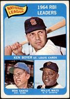 National League 1964 RBI Leaders (Ken Boyer, Ron Santo, Willie Mays) [VGE…