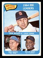National League 1964 RBI Leaders (Ken Boyer, Ron Santo, Willie Mays) [VG]