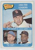 National League 1964 RBI Leaders (Ken Boyer, Ron Santo, Willie Mays)
