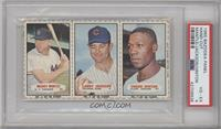 Mickey Mantle, Larry Jackson, Chuck Hinton [PSA 4 VG‑EX]