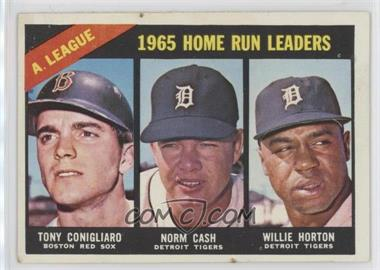 1966 Topps - [Base] #218 - A. League Home Run Leaders (Tony Conigliaro, Norm Cash, Willie Horton)