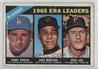 1965 ERA Leaders (Sandy Koufax, Juan Marichal, Vern Law) [PoortoFai…