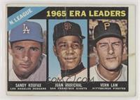1965 ERA Leaders (Sandy Koufax, Juan Marichal, Vern Law) [Poor]