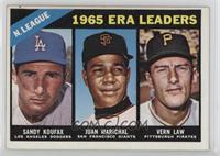 1965 ERA Leaders (Sandy Koufax, Juan Marichal, Vern Law) [GoodtoVG&…