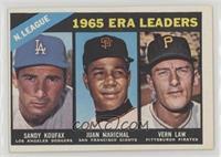 1965 NL ERA Leaders (Sandy Koufax, Juan Marichal, Vern Law)