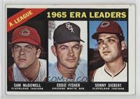 1965 AL ERA Leaders (Sam McDowell, Eddie Fisher, Sonny Siebert) [Good to&n…