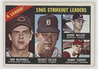 1965 AL Strikeout Leaders (Sam McDowell, Mickey Lolich, Denny McLain, Sonny Sie…