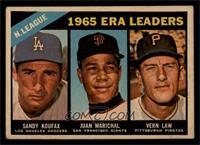 1965 NL ERA Leaders (Sandy Koufax, Juan Marichal, Vern Law) [GOOD]