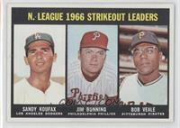 N. League Strikeout Leaders (Sandy Koufax, Jim Bunning, Bob Veale)