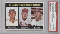 N. League Strikeout Leaders (Sandy Koufax, Jim Bunning, Bob Veale) [PSA8&…