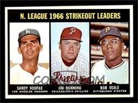 N. League Strikeout Leaders (Sandy Koufax, Jim Bunning, Bob Veale) [NM]