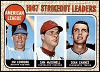 1967 AL Strikeout Leaders (Jim Lonborg, Sam McDowell, Dean Chance) [NM]
