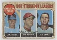 1967 AL Strikeout Leaders (Jim Lonborg, Sam McDowell, Dean Chance) [Poor]