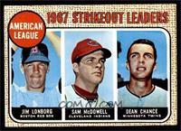 1967 AL Strikeout Leaders (Jim Lonborg, Sam McDowell, Dean Chance) [EXMT]