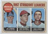 1967 AL Strikeout Leaders (Jim Lonborg, Sam McDowell, Dean Chance) [Poor t…