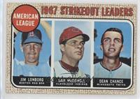 1967 AL Strikeout Leaders (Jim Lonborg, Sam McDowell, Dean Chance)