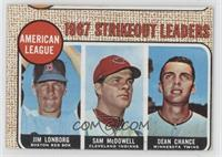 Jim Lonborg, Sam McDowell, Dean Chance [Good to VG‑EX]