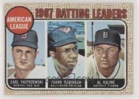 1967 AL Batting Leaders (Carl Yastrzemski, Frank Robinson, Al Kaline)