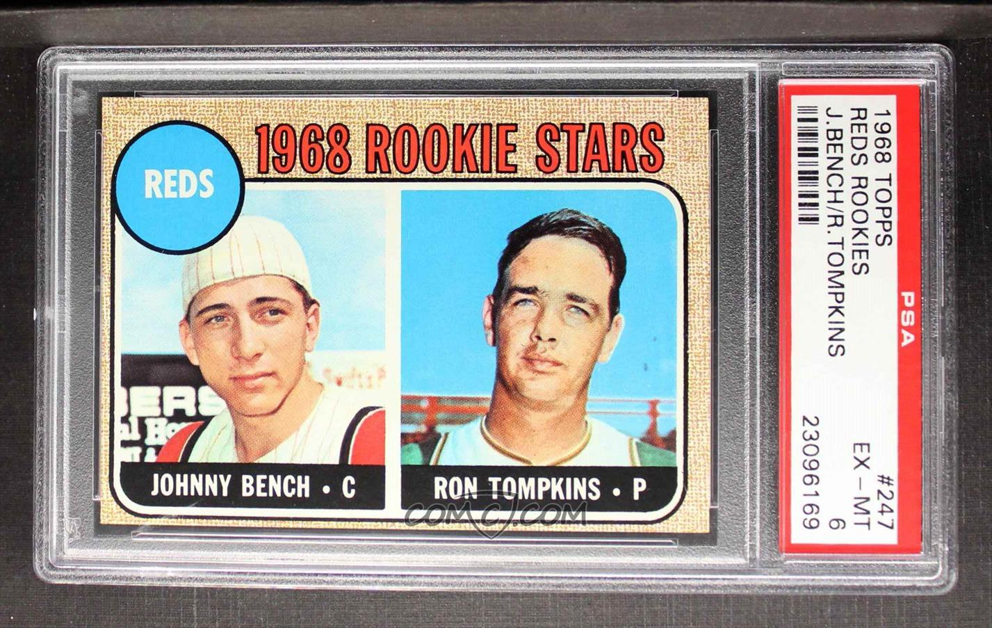 1968 Topps Base 247 1 Reds Rookie Stars Johnny Bench Ron Tompkins Impressed Tne Reds