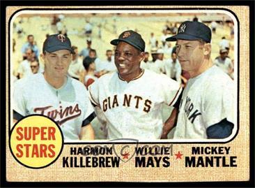 1968 Topps - [Base] #490 - Super Stars (Willie Mays, Mickey Mantle, Harmon Killebrew) [GOOD]