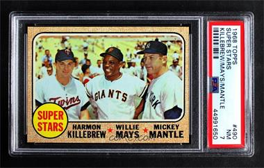 1968 Topps - [Base] #490 - Super Stars (Willie Mays, Mickey Mantle, Harmon Killebrew) [PSA7NM]