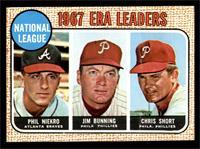 National League 1967 ERA Leaders (Phil Niekro, Jim Bunning, Chris Short) [GOOD]