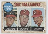 National League 1967 ERA Leaders (Phil Niekro, Jim Bunning, Chris Short) [Poor&…