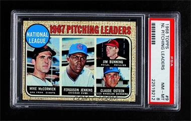 1968 Topps - [Base] #9 - 1967 NL Pitching Leaders (Mike McCormick, Fergie Jenkins, Jim Bunning, Claude Osteen) [PSA8NM‑MT]